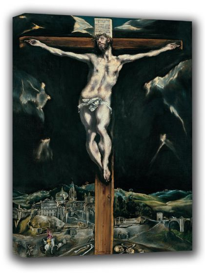 El Greco (Domenico Theotocopuli): Christ Crucified with Toledo in the Background. Christian/Religious Fine Art Canvas. Sizes: A4/A3/A2/A1 (002039)